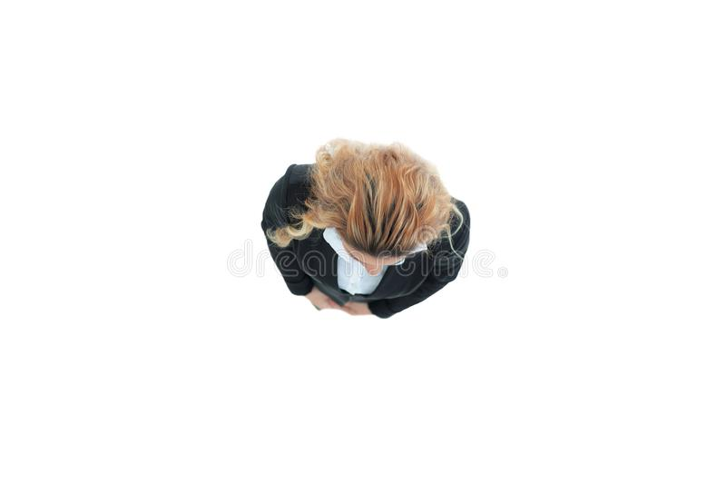 View from the top.modern business woman .isolated stock photos