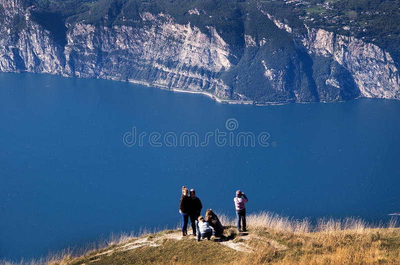 View from the top of Monte Baldo. Vista down the lake at the summit of Monte Baldo above Malcesine on the shores of Lake Garda in Northern Italy stock photo