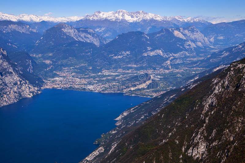 View from the top of Monte Baldo. Vista down the lake at the summit of Monte Baldo above Malcesine on the shores of Lake Garda in Northern Italy royalty free stock image