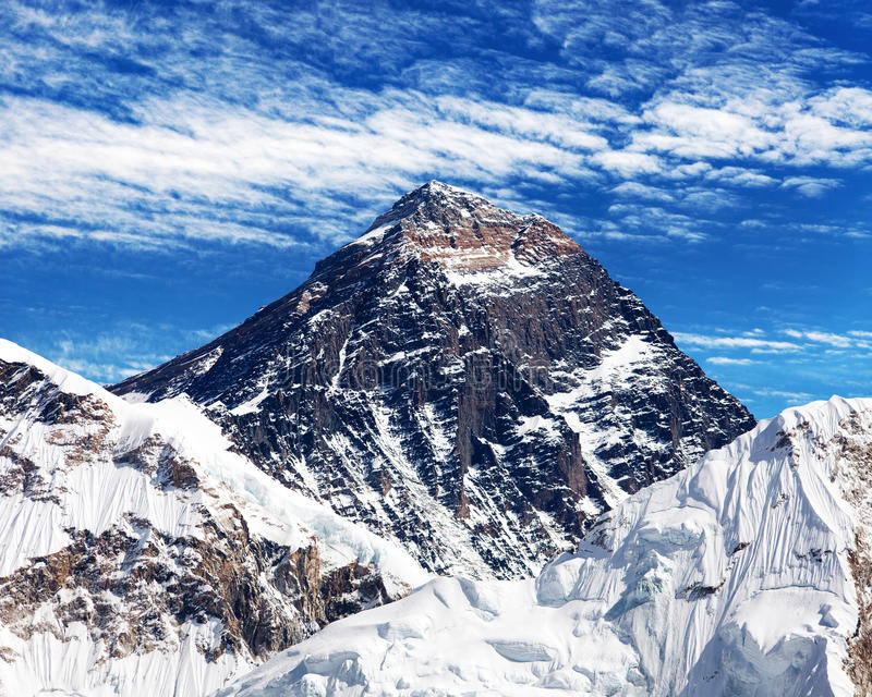 Mount Everest with clouds from Kala Patthar royalty free stock photos