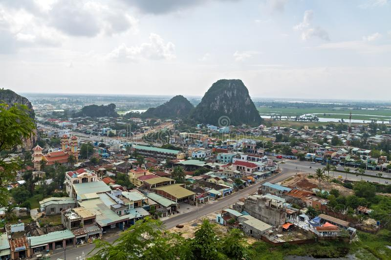 Marble Mountains, Hoi An, Vietnam, Asia. View from on top of Mount Thuy of Marble Mountains Da Nang city which is one of the most attractive destination for the stock image