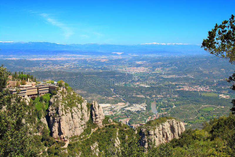 View from the top of the mountain of Montserrat. royalty free stock photography