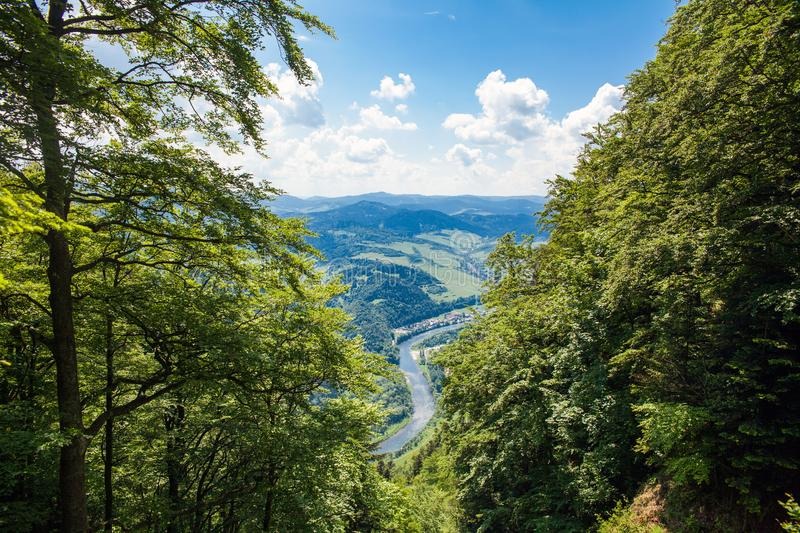 View from the top of the mountain to the Sromowce village by the river. Bialy Dunajec in Pieniny, view from the top of the Three Crowns. The highest peak of royalty free stock photos