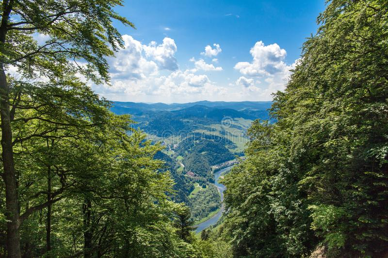 View from the top of the mountain to the Sromowce village by the river. Bialy Dunajec in Pieniny, view from the top of the Three Crowns. The highest peak of royalty free stock image