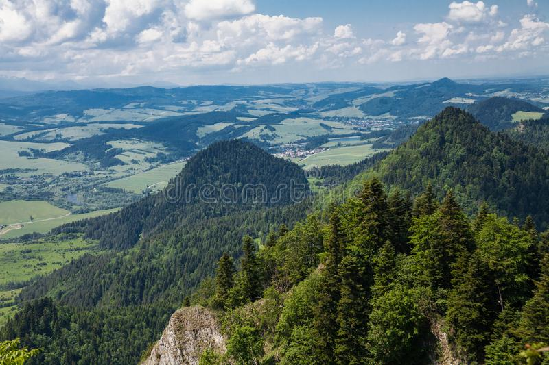 View from the top of the mountain to the Sromowce village by the river. Bialy Dunajec in Pieniny, view from the top of the Three Crowns. The highest peak of royalty free stock photo