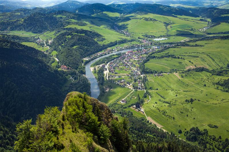 View from the top of the mountain to the Sromowce village by the river. Bialy Dunajec in Pieniny, view from the top of the Three Crowns. The highest peak of royalty free stock images