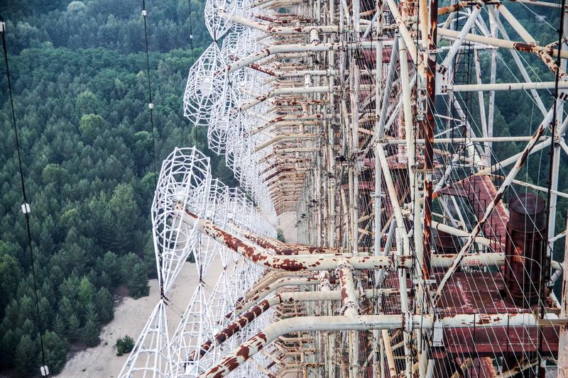 View from the top of overhorizon antenna array DUGA in Chernobyl zone stock photos