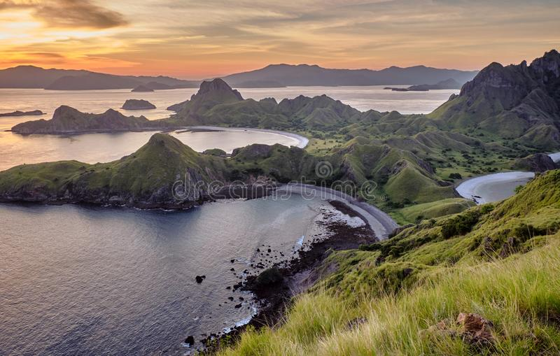 View at top of `Padar Island` in sunset from Komodo Island, Komodo National Park, Labuan Bajo, Flor royalty free stock photography