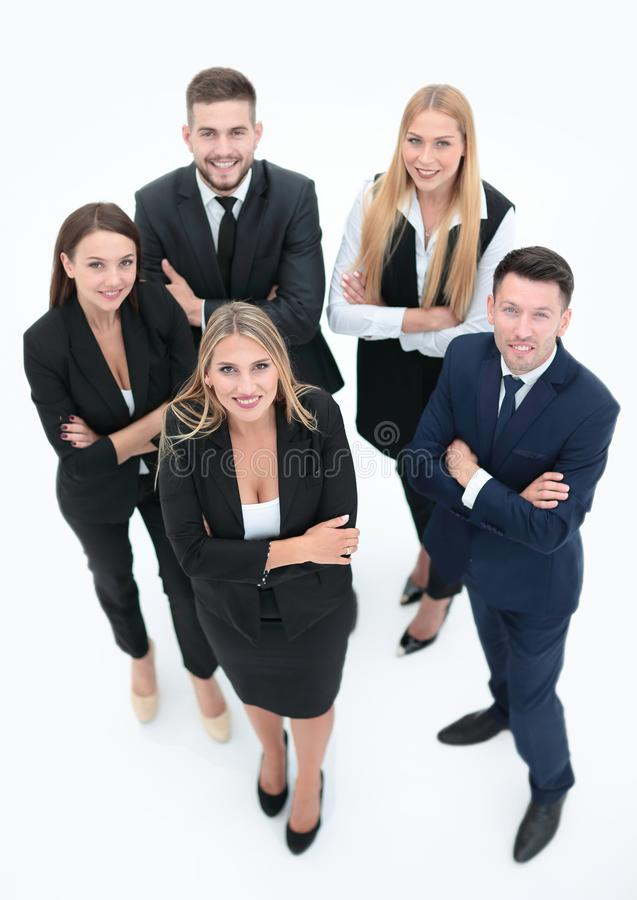 View from the top.professional group of business people. stock image