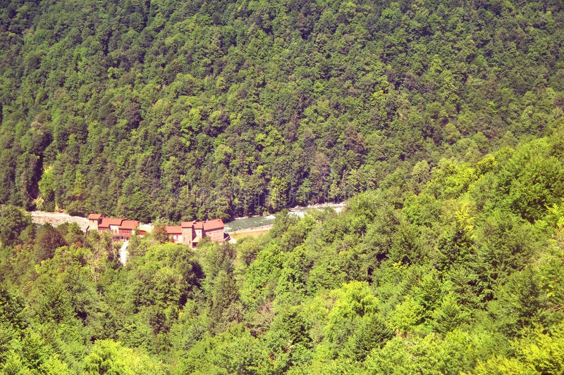 View from the top of the Roza Khutor royalty free stock photo