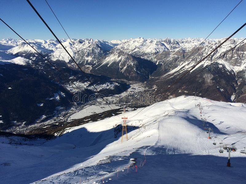 Ski slope in Bormio. View from the top of the ski slope in Bormio - Lombardy - Italy royalty free stock photography
