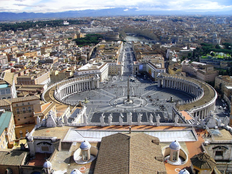 View from the top of St. Peter's basilica, Roma stock photography