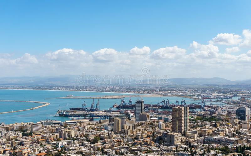 View from the top to city of Haifa in Israel and harbor at spring time. stock photography