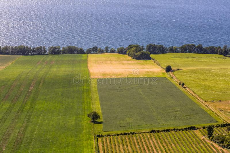 View from top to the green fields. Sweden royalty free stock photography