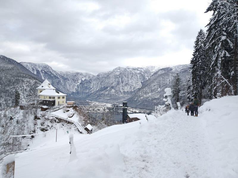 Hallstatt Sky Walk. Austria. Winter view from the top. royalty free stock photo
