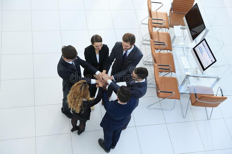 View from the top .unified business team. royalty free stock photo