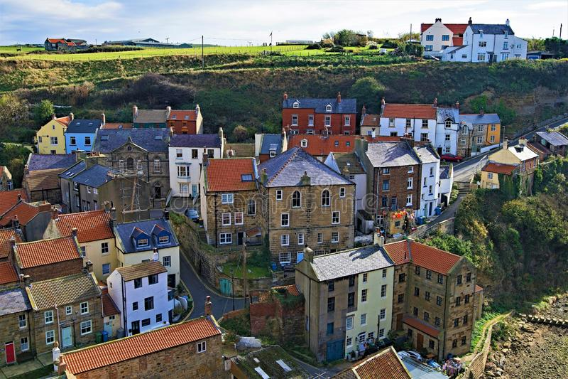 View from the top of the village of Staithes 2, near Scarborough, in North Yorkshire. royalty free stock images