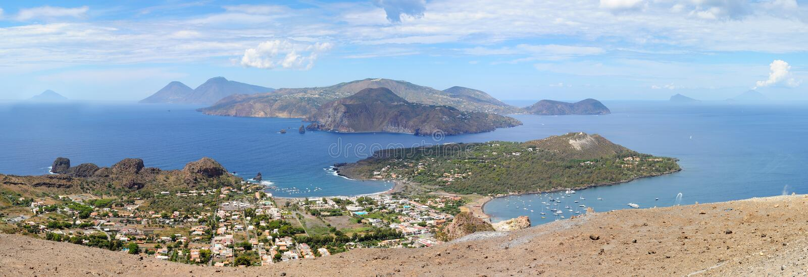 View from the top of volcano to Aeolian Islands stock images