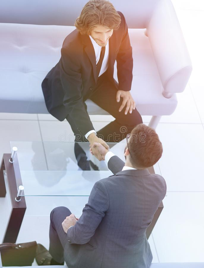 Welcome and handshake of business people royalty free stock images