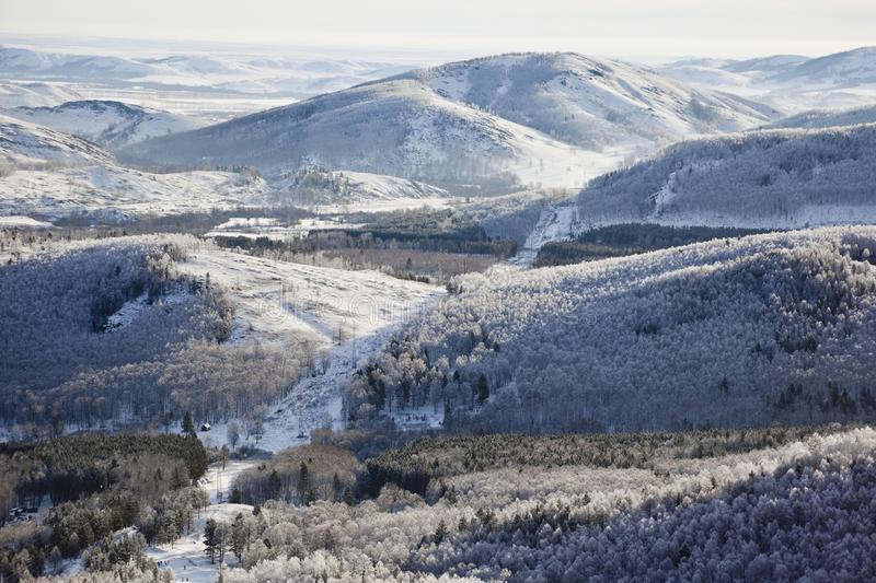 Ural mountains. Winter. Russia. The view from the top. Winter. Russia. Ural mountains stock photography