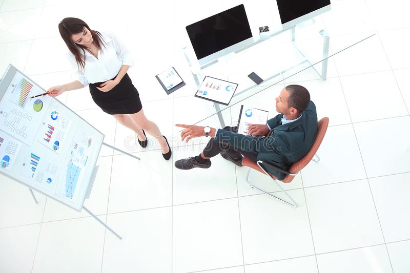 View from the top.young business woman making presentation of a new project stock photo