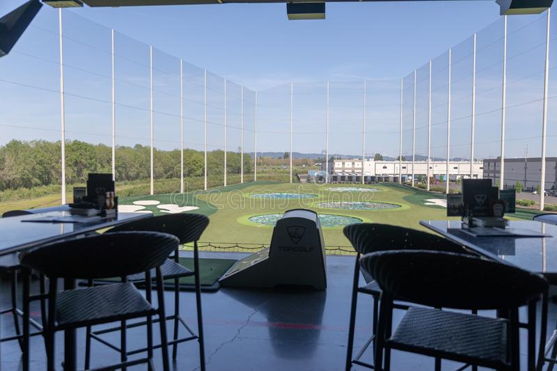 View of TopGolf in Oregon, Entertainment venue with swanky lounge with drinks & games. Hillsboro, Oregon - May 11, 2019 : View of TopGolf in Oregon royalty free stock photos