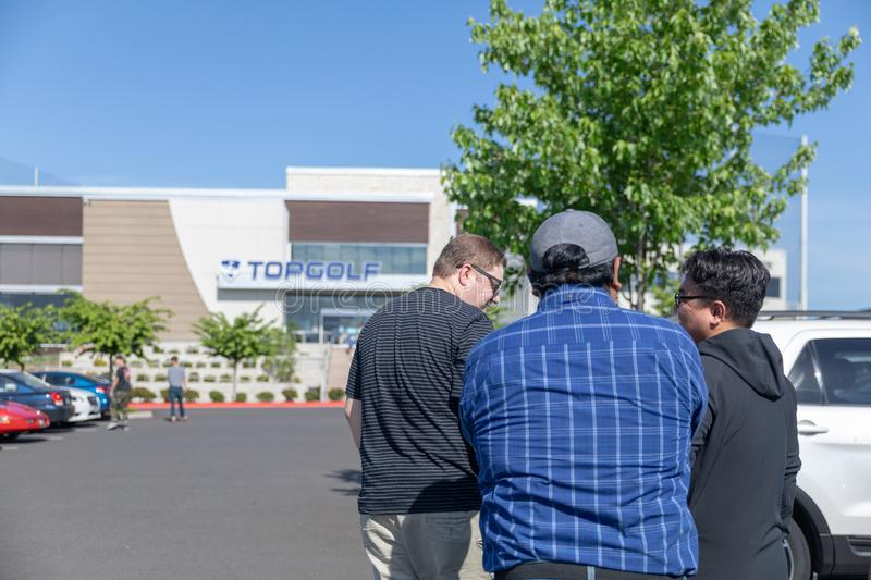 View of TopGolf in Oregon, Entertainment venue with swanky lounge with drinks & games. Hillsboro, Oregon - May 11, 2019 : View of TopGolf in Oregon stock photography