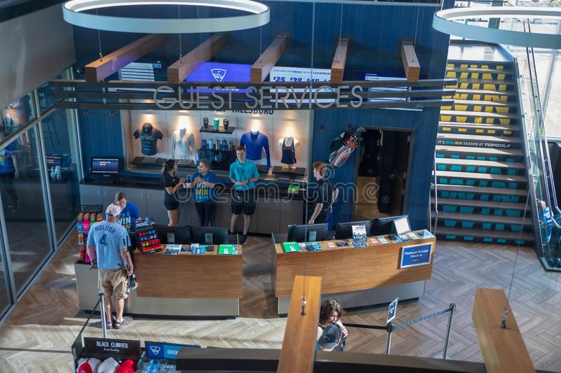 View of TopGolf in Oregon, Entertainment venue with swanky lounge with drinks & games. Hillsboro, Oregon - May 11, 2019 : View of TopGolf in Oregon stock images