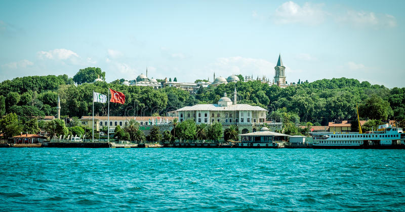 View of Topkapi palace and Eminonu in Istanbul. Retro style phot royalty free stock image