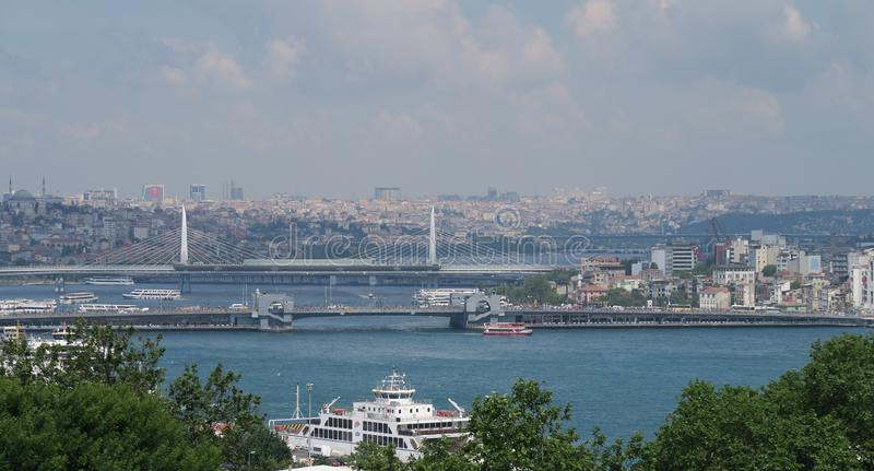 View from Topkapi Palace at Galata Bridge and the Golden Horn in Istanbul, Turkey royalty free stock image