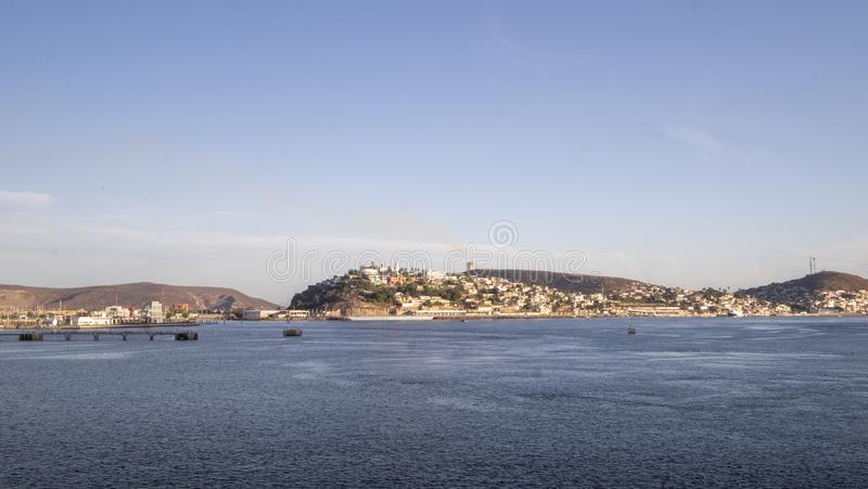View of Topolobampo bay, sea and land from the ferry, Topolobampo, Mexico - December 17th, 2017 stock image
