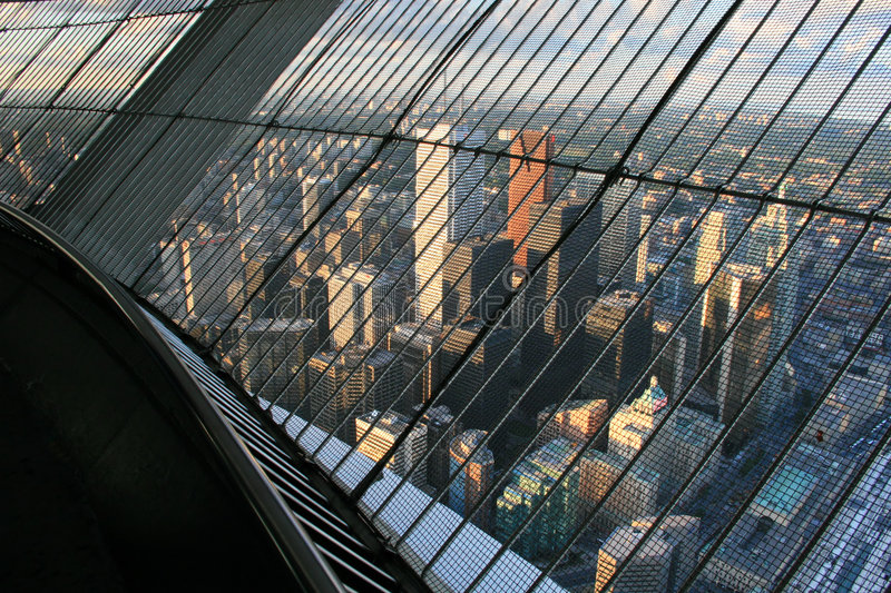 View of Toronto. The view of Toronto, Canada from the 346m level of the 553m high CN Tower royalty free stock photography