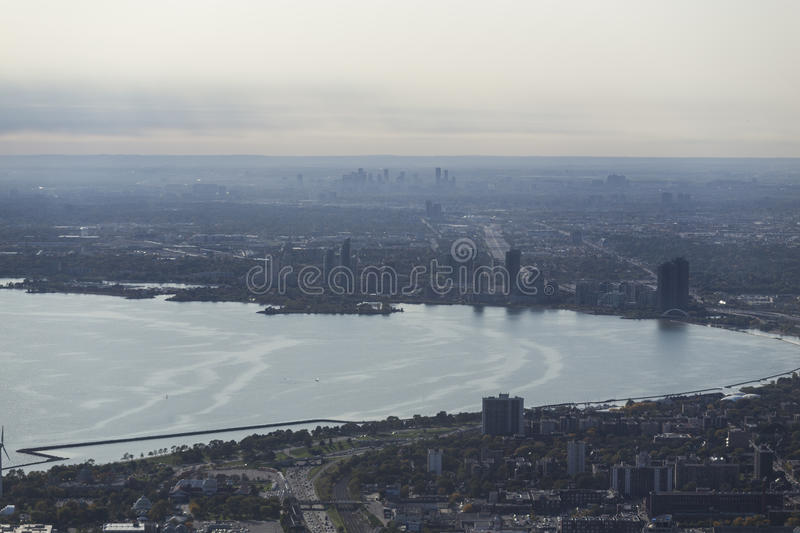 View of Toronto from the CN Tower. Toronto, Ontario, Canada royalty free stock images