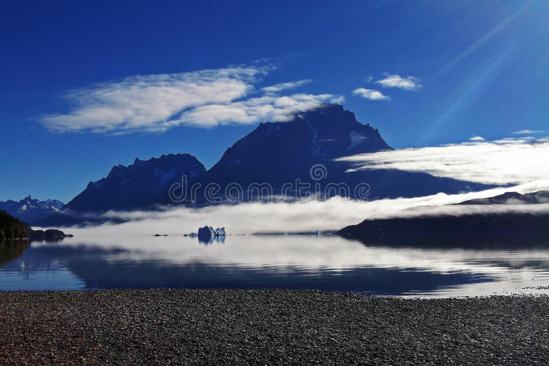 View of Torres del Paine from Grey's Lake stock photo