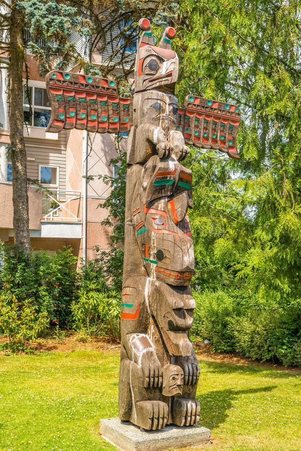 View of totems in Duncan - Canada. DUNCAN,CANADA - JULY 5,2018 - View of totems in Duncan. Duncan is `The City of Totems`. The city has 80 totem poles around the royalty free stock photos