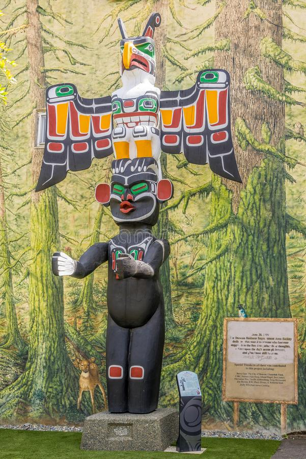 View of totems in Duncan - Canada. DUNCAN,CANADA - JULY 5,2018 - View of totems in Duncan. Duncan is `The City of Totems`. The city has 80 totem poles around the royalty free stock images