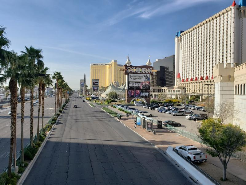 View of the tourist area on the main avenue of the city of Las Vegas, Nevada at day. Travel and tourism in the United States of America, style and design in royalty free stock image
