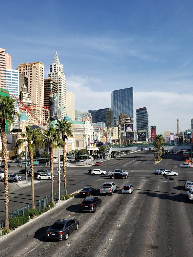 View of the tourist area on the main avenue of the city of Las Vegas, Nevada at day. Travel and tourism in the United States of America, style and design in stock photography