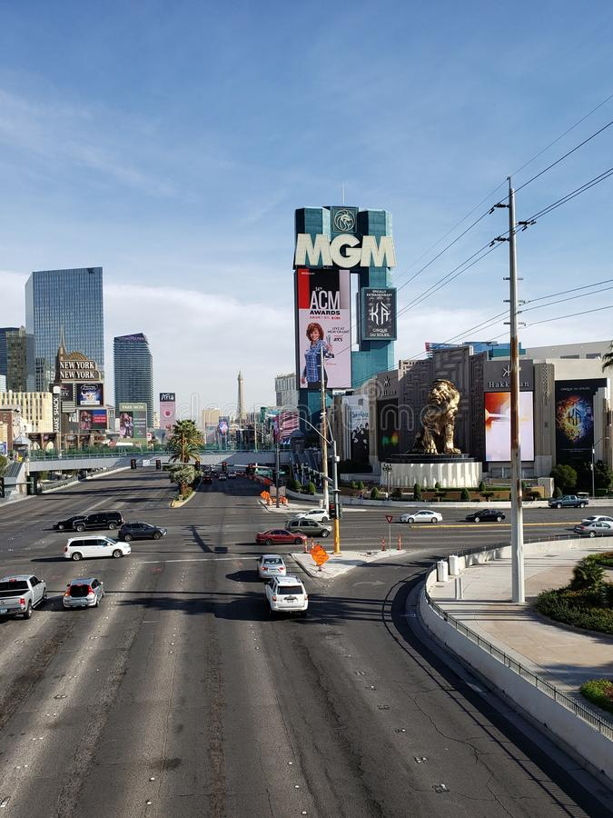 View of the tourist area on the main avenue of the city of Las Vegas, Nevada at day. Travel and tourism in the United States of America, style and design in royalty free stock photo