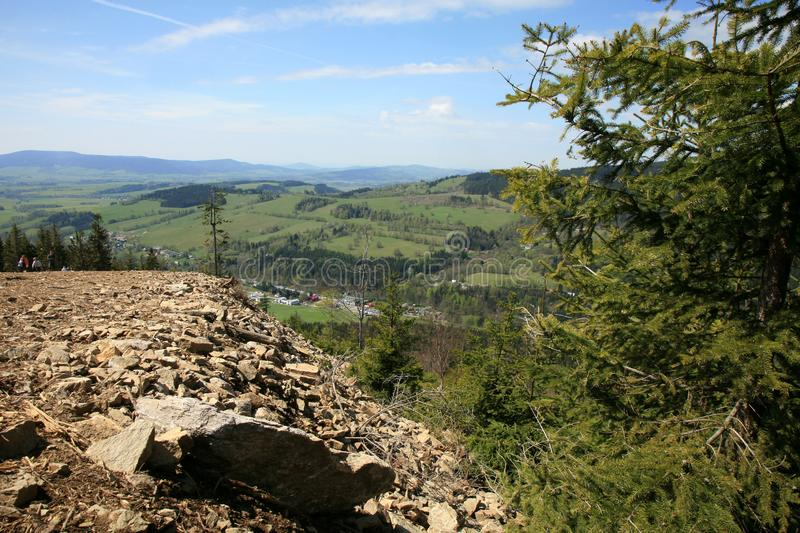 View from the tourist attraction observation deck Stezka v oblacich or Sky Walk In the Czech village of Dolni Morava. Beautiful panoramic view from the tourist stock images