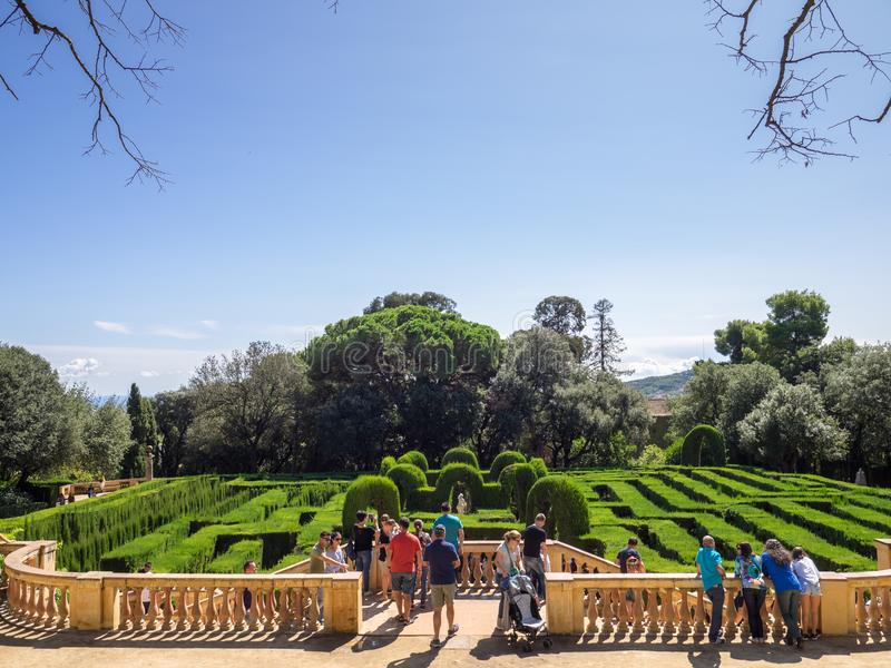 View of the tourists in the Horta`s Labyrinth stock images