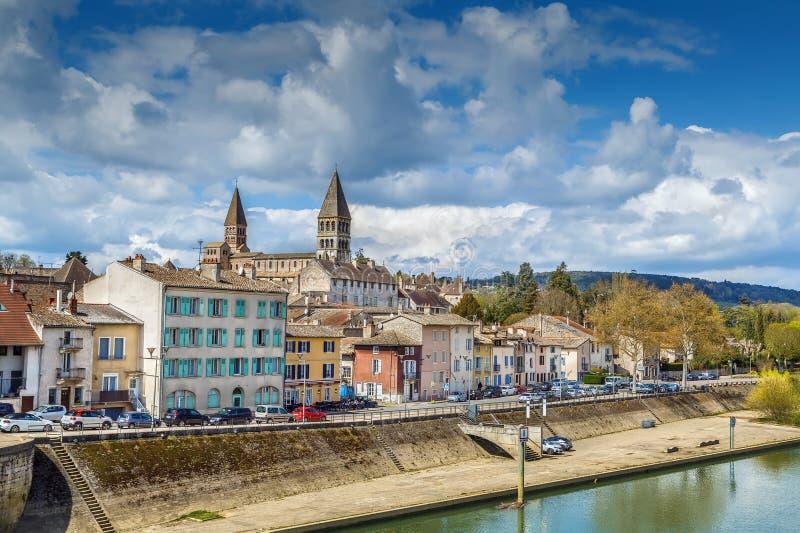 View of Tournus, Frankrijk stock foto's