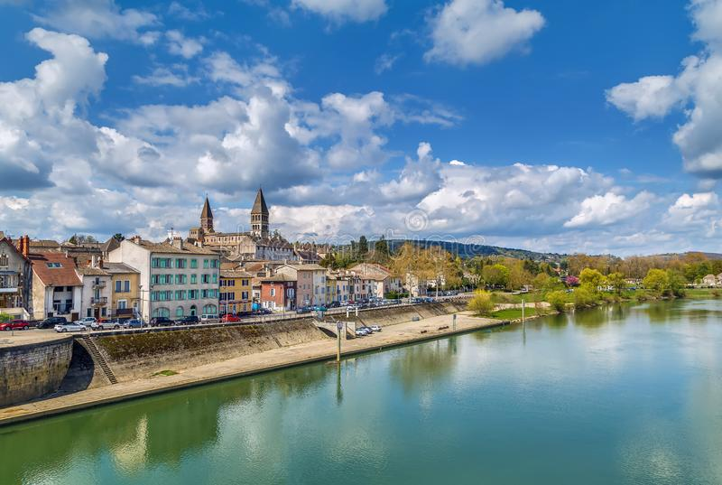 View of Tournus, Frankrijk royalty-vrije stock foto's