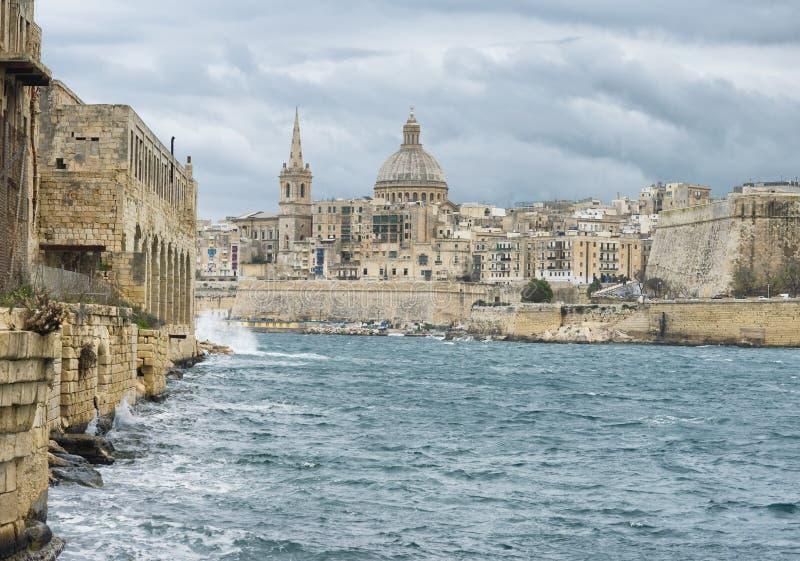 View toward the historic city of Valletta royalty free stock photo