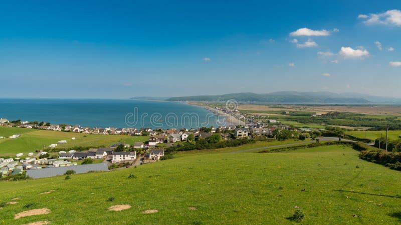 View towards Borth, Wales, UK. View over the Welsh coastline towards Borth, near Aberystwyth, Ceredigion, Wales, UK stock photos