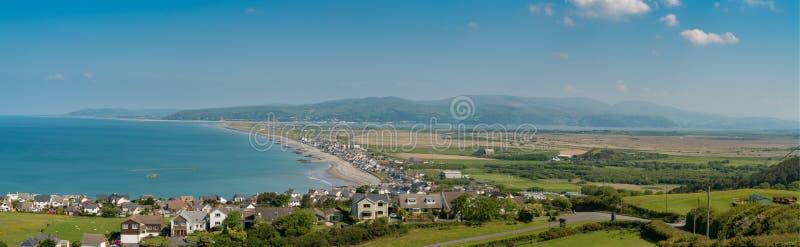 View towards Borth, Wales, UK. View over the Welsh coastline towards Borth, near Aberystwyth, Ceredigion, Wales, UK royalty free stock photography