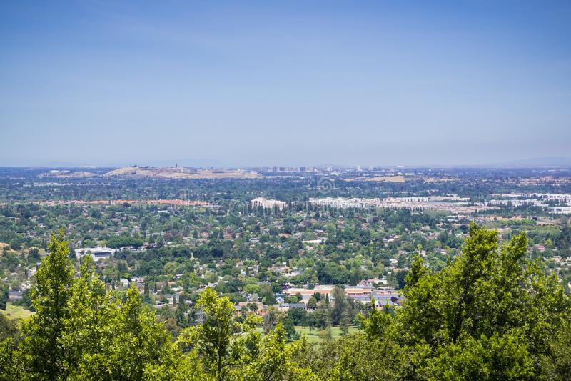 View towards Communications Hill and downtown San Jose from Santa Teresa County Park, San Francisco bay area, California royalty free stock photos