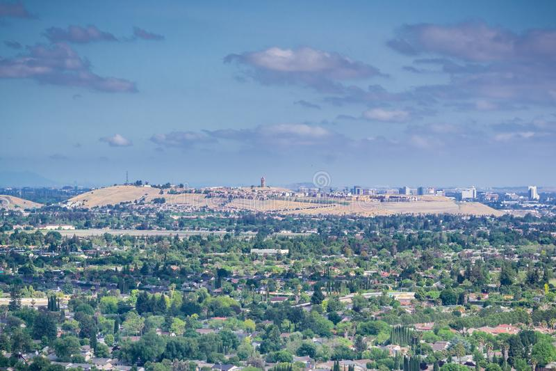 View towards Communications Hill and downtown San Jose from Santa Teresa County Park, San Francisco bay area, California royalty free stock photo