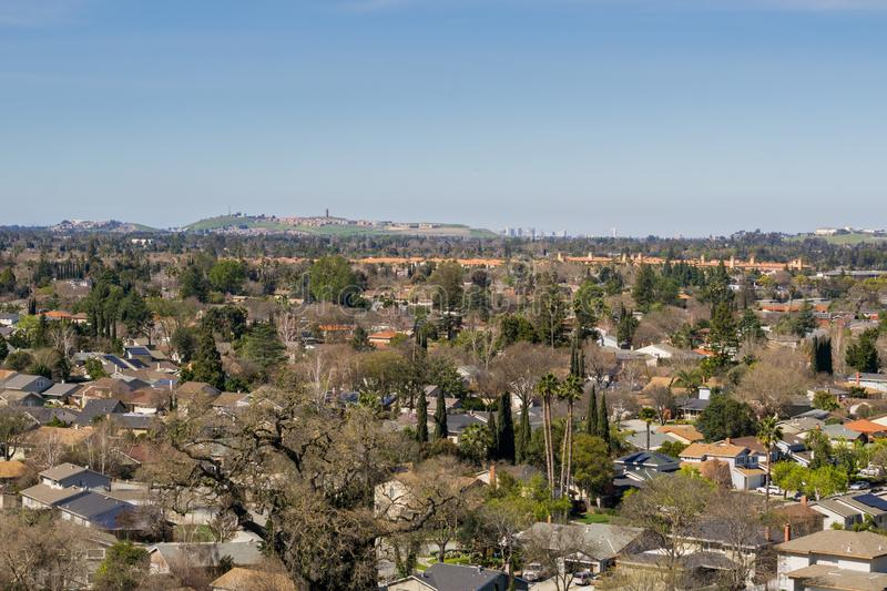 View towards Communications Hill and downtown San Jose from Santa Teresa Park, San Francisco bay area, California stock images