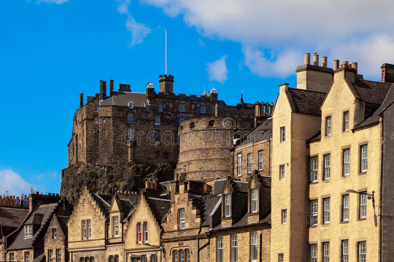 View towards Edinburgh castle. View of buildings on the Grassmarket in Edinburgh, Scotland with Edinburgh castle in the background stock image